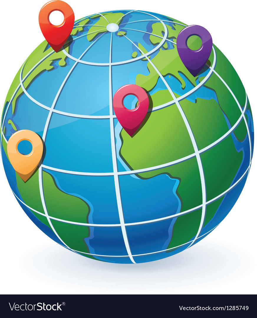 Globe with location pointers vector | Price: 1 Credit (USD $1)