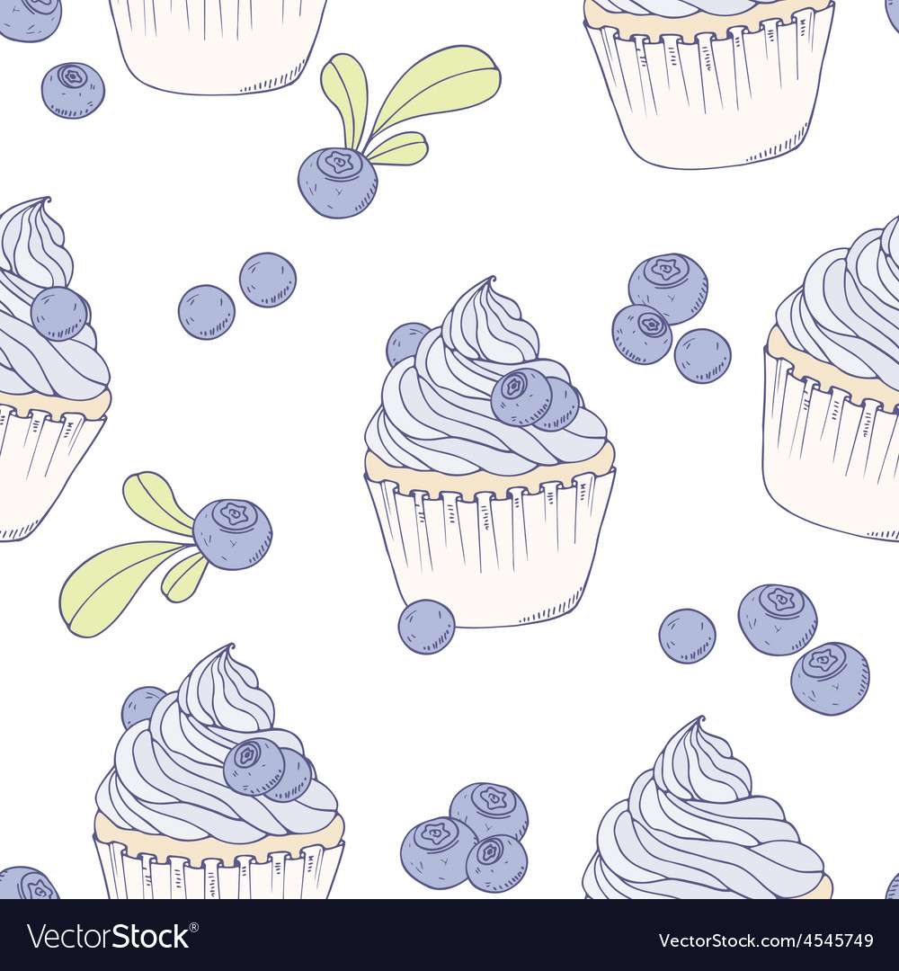 Hand drawn blueberry cupcake seamless pattern vector | Price: 1 Credit (USD $1)