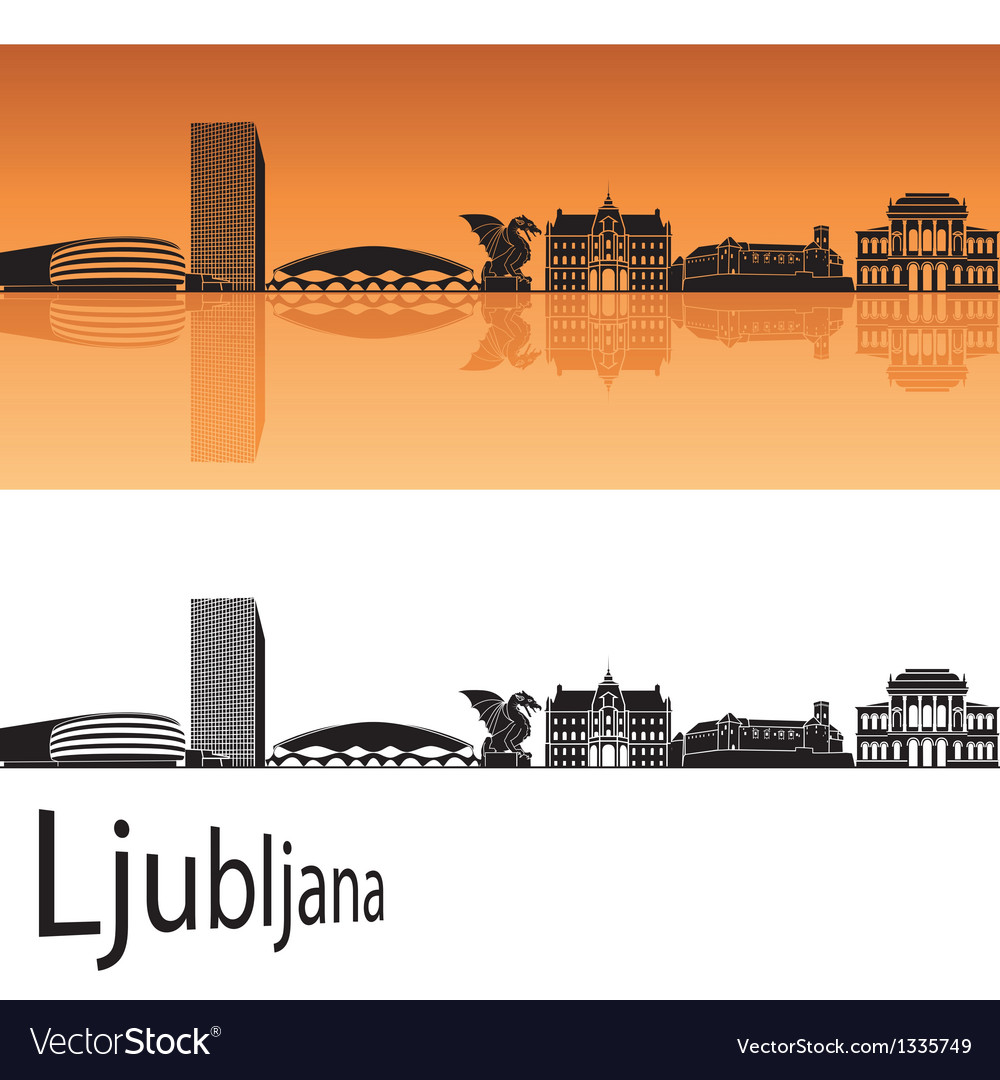 Ljubljana skyline in orange background vector | Price: 1 Credit (USD $1)