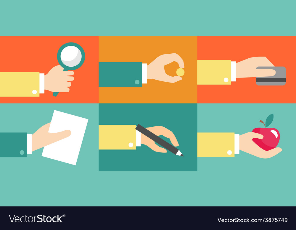 Set of hands purchase payment credit flat vector | Price: 1 Credit (USD $1)
