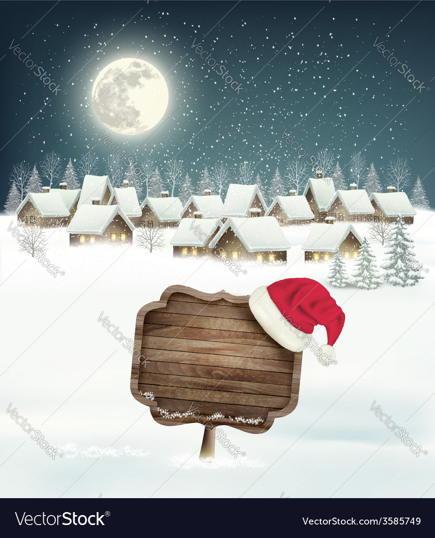 Winter holiday christmas background with a village vector | Price: 3 Credit (USD $3)