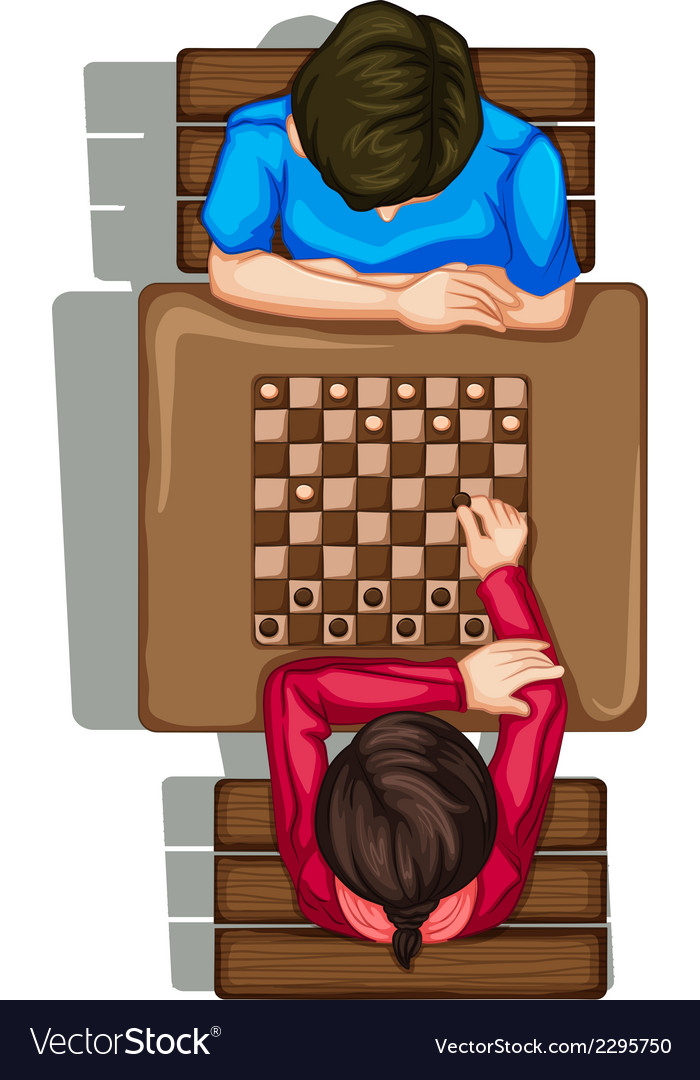 A topview of two people playing a boardgame vector | Price: 1 Credit (USD $1)