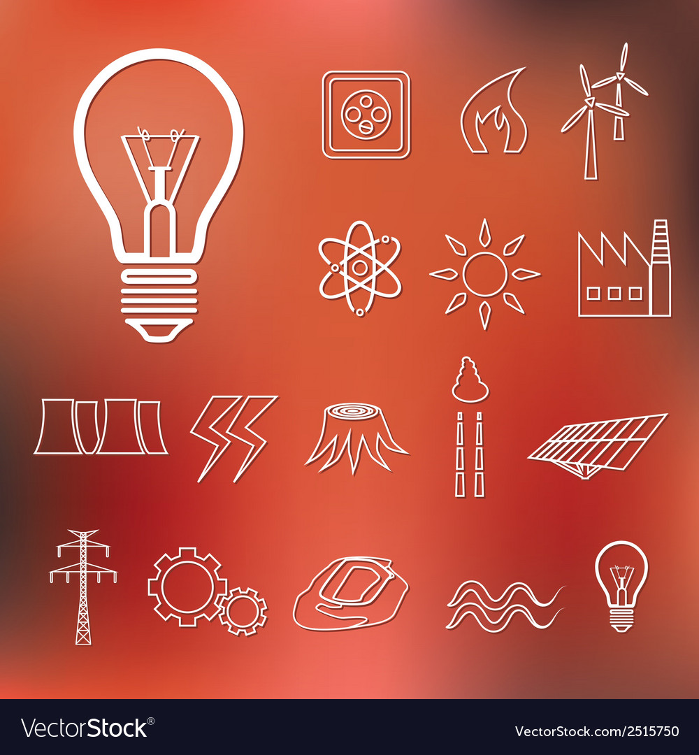 Energy outline icons vector | Price: 1 Credit (USD $1)