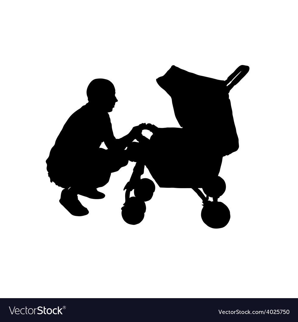 Father with a baby carriage vector | Price: 1 Credit (USD $1)