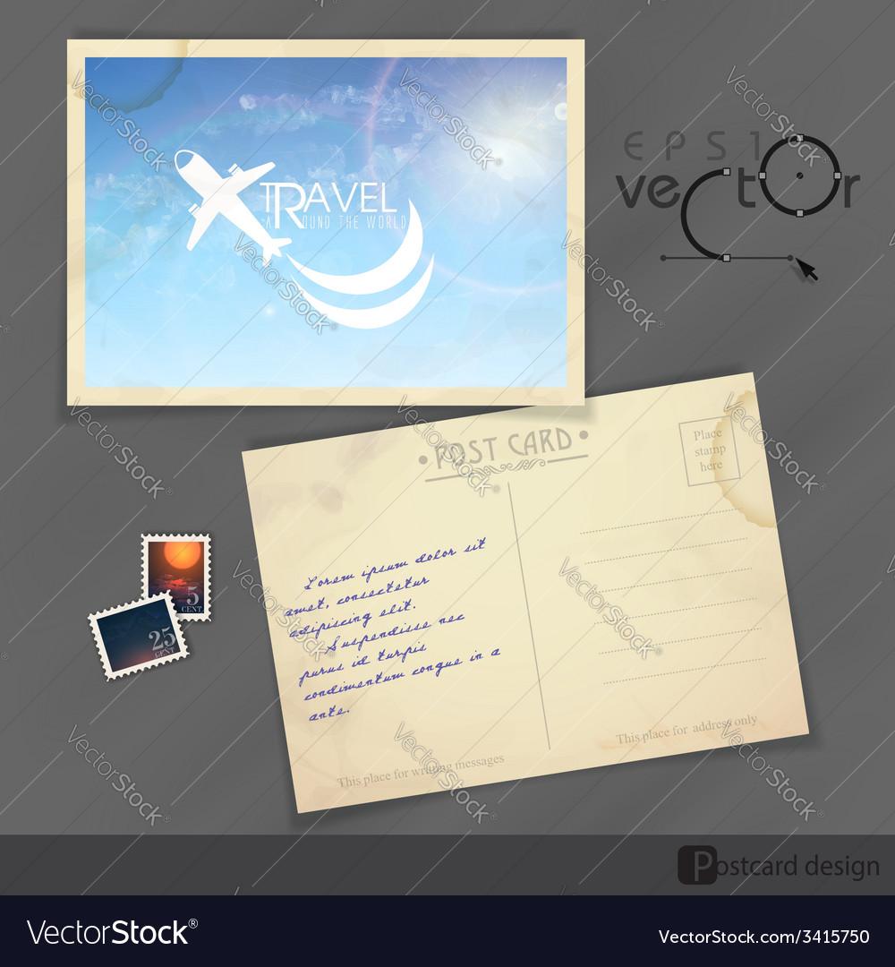 Old postcard design template vector   Price: 1 Credit (USD $1)