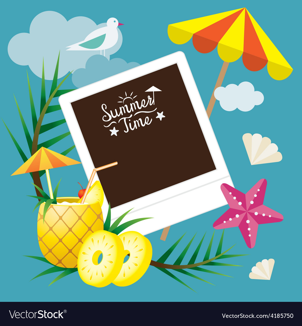 Pineapple fruit and summer objects with frame vector | Price: 3 Credit (USD $3)