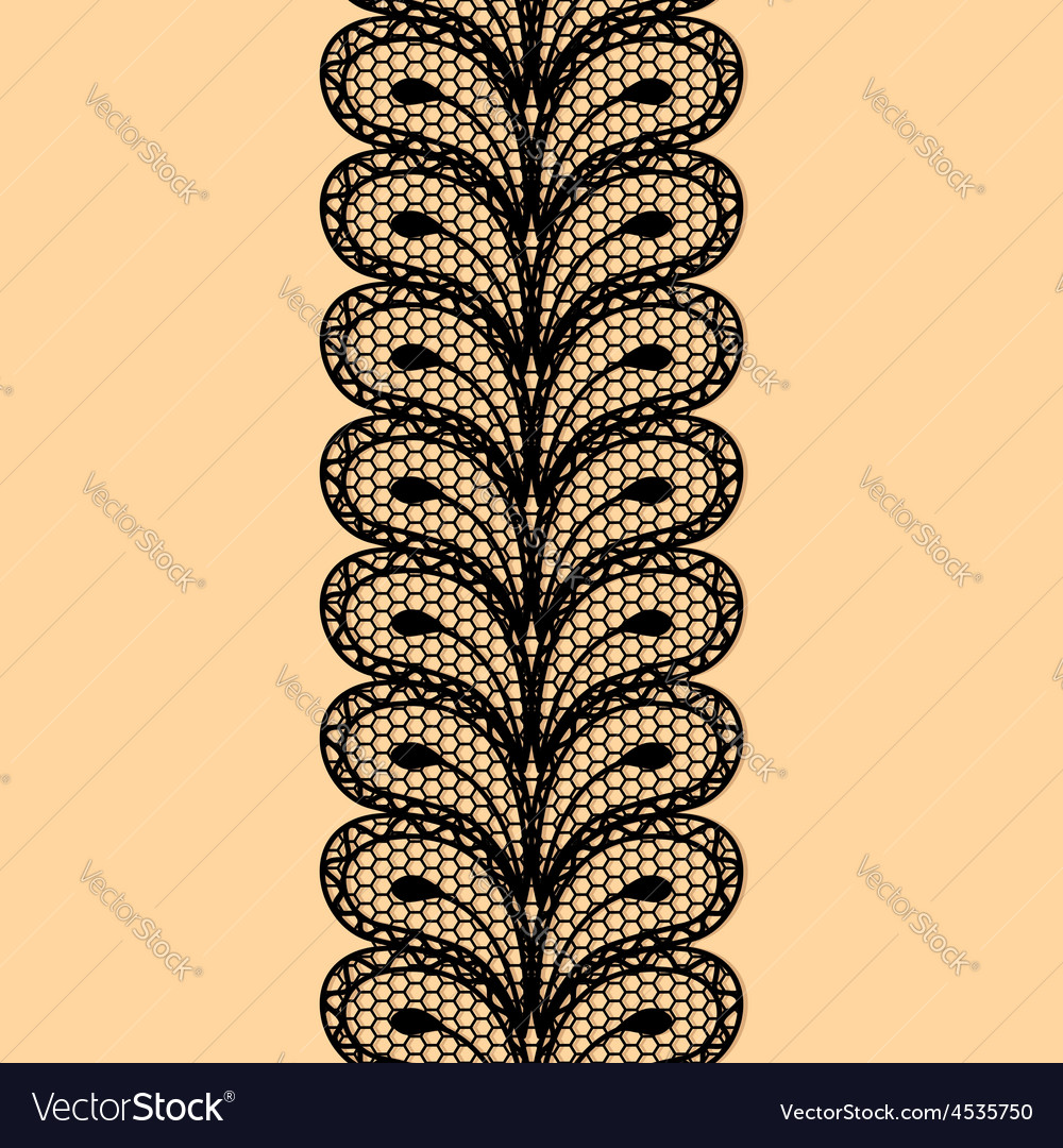Seamless black lace border vector | Price: 1 Credit (USD $1)
