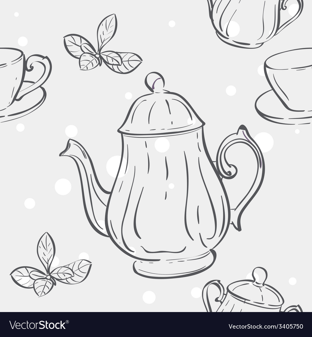 Seamless texture with the image of the tea set and vector | Price: 1 Credit (USD $1)