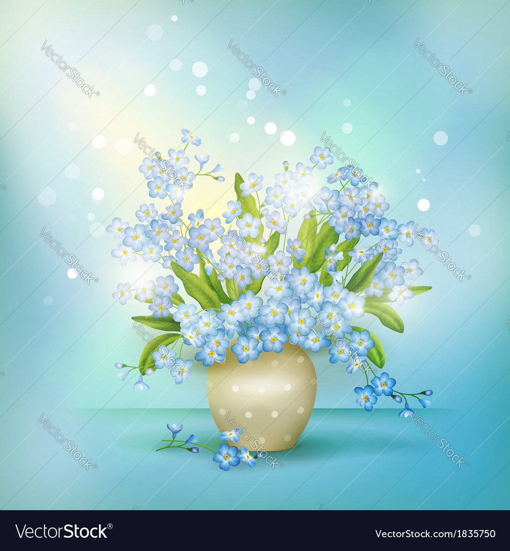 Spring blue flowers forget-me-nots in vase vector | Price: 1 Credit (USD $1)