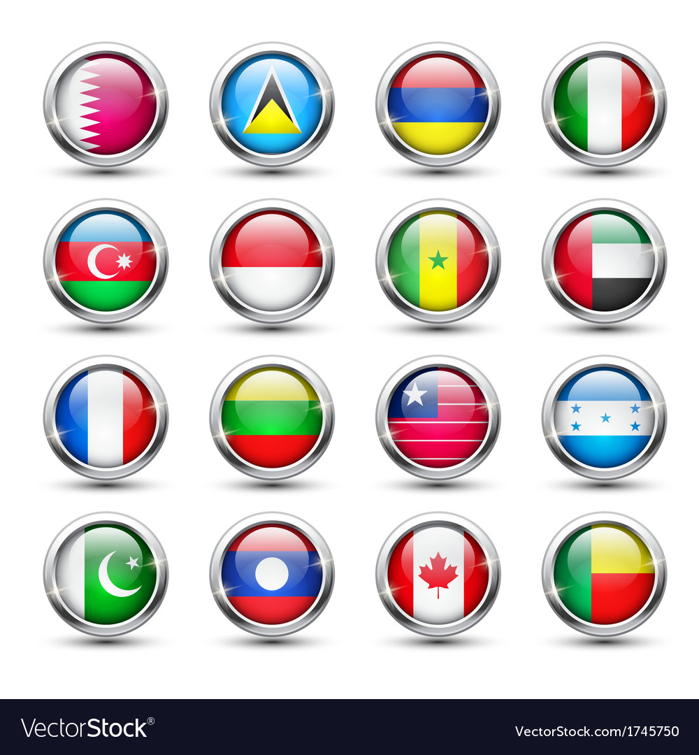 World flag glass icons vector | Price: 1 Credit (USD $1)