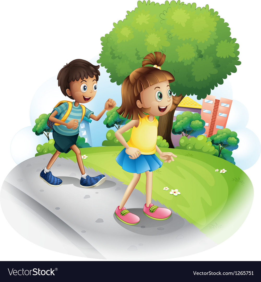 A girl and a boy walking along the street vector | Price: 1 Credit (USD $1)