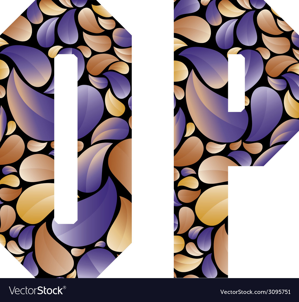 Beautiful floral alphabet letters o and p vector | Price: 1 Credit (USD $1)