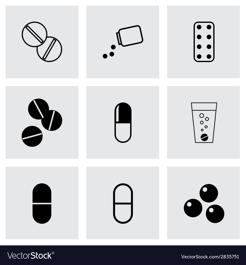 Black pills icons set vector | Price: 1 Credit (USD $1)