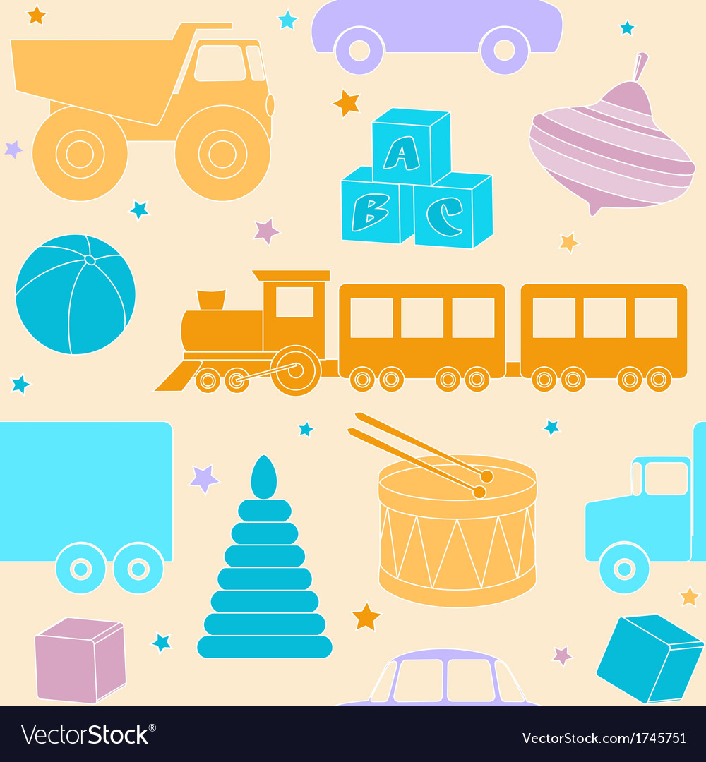 Bright seamless pattern with toys vector | Price: 1 Credit (USD $1)