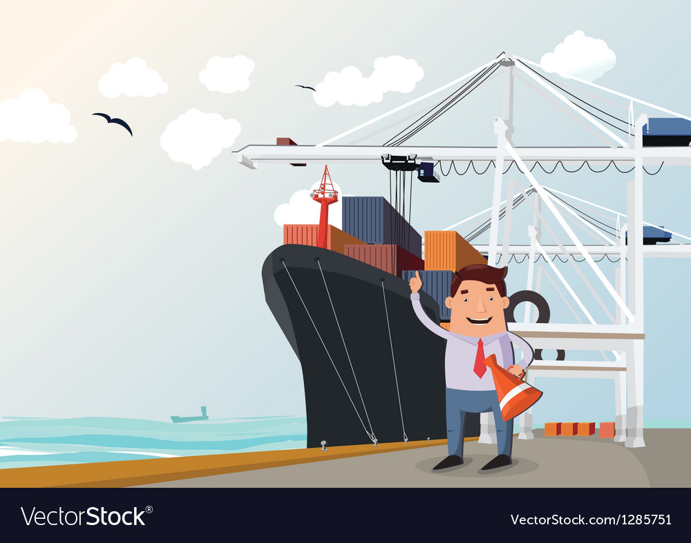 Cargo ship in port vector | Price: 1 Credit (USD $1)