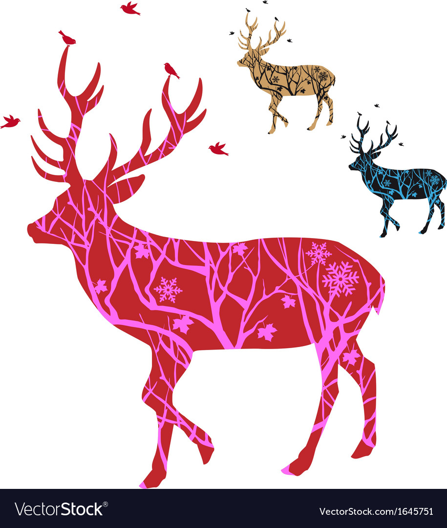 Christmas deer with birds vector | Price: 1 Credit (USD $1)