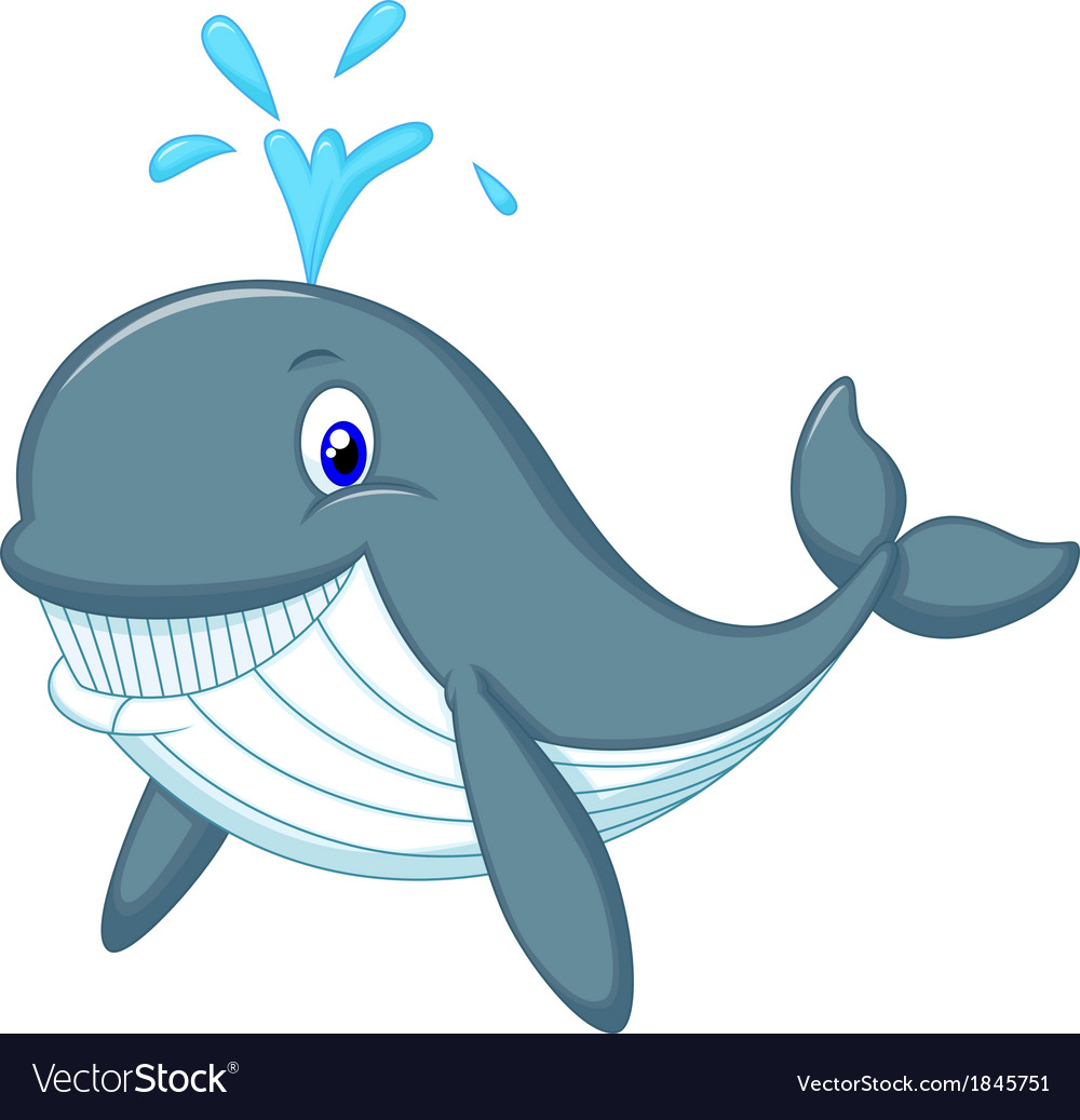 Cute whale cartoon vector | Price: 1 Credit (USD $1)
