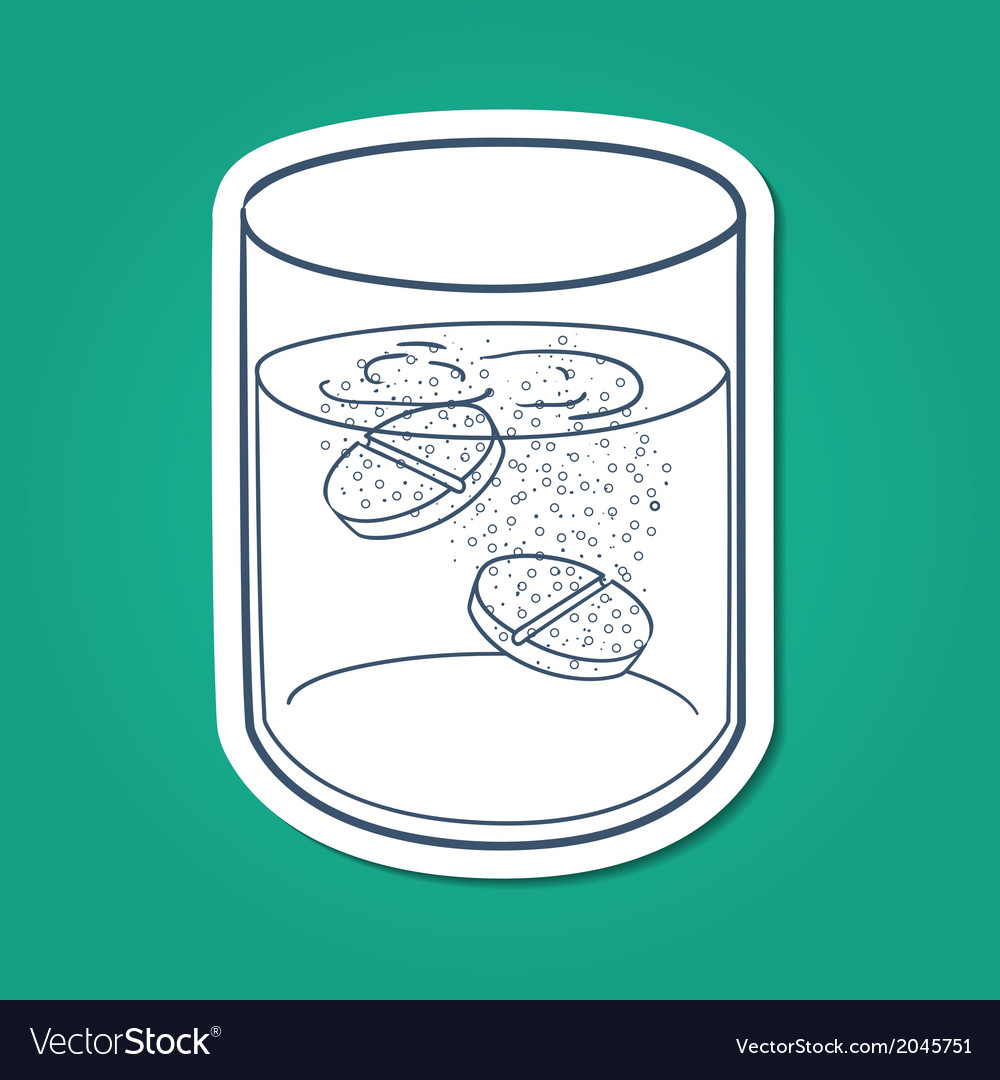 Effervescent tablets in a glass vector | Price: 1 Credit (USD $1)