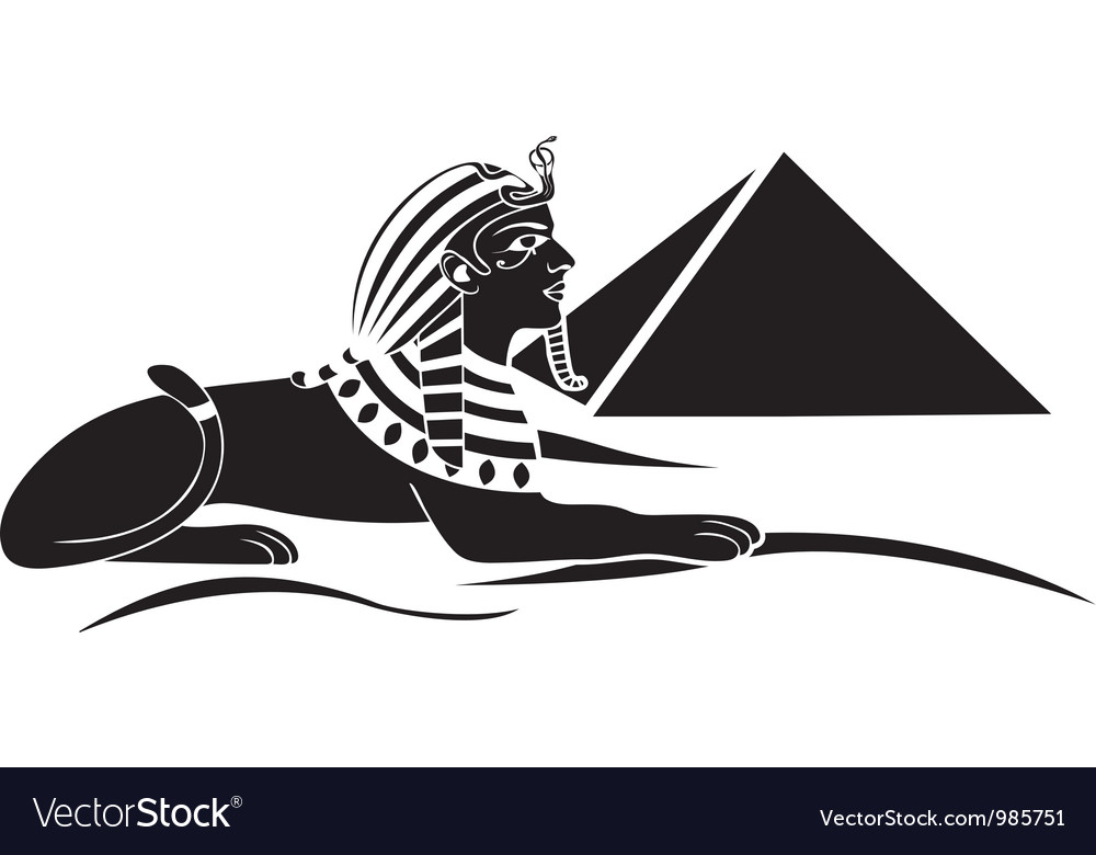 Egyptian sphinx with pyramid vector | Price: 1 Credit (USD $1)