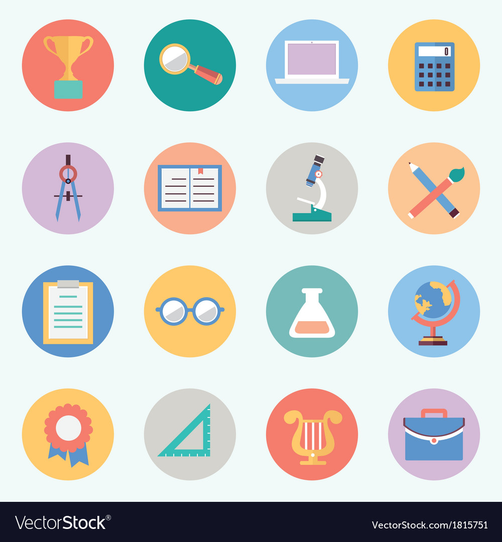 Flat education icons science and knowledge vector | Price: 1 Credit (USD $1)