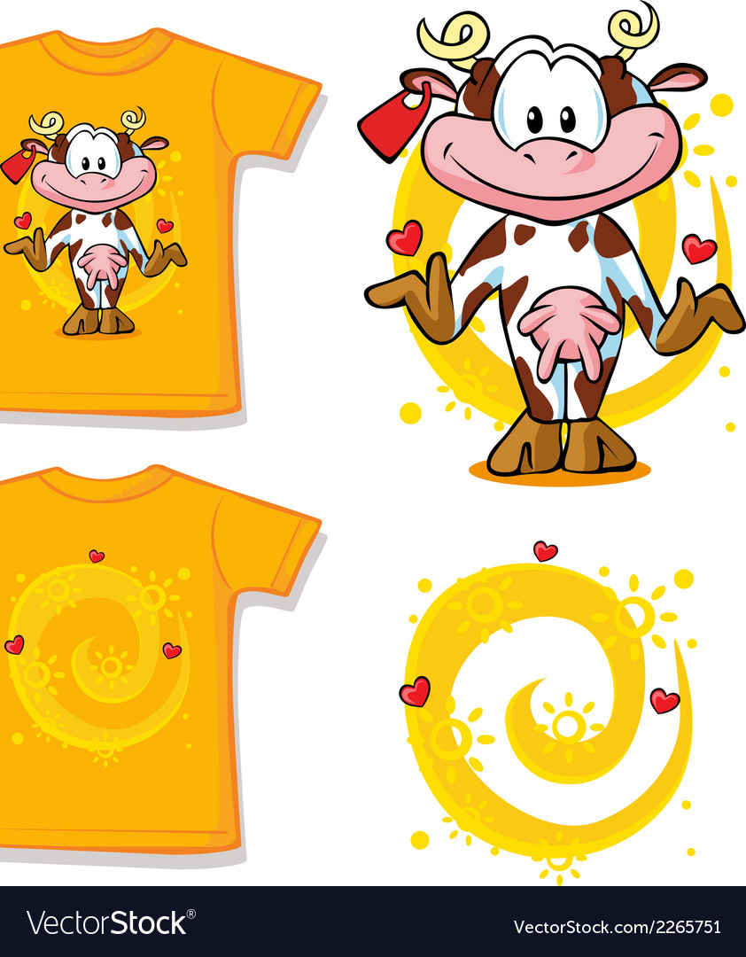 Kid shirt with cute cow printed - isolated on vector | Price: 1 Credit (USD $1)