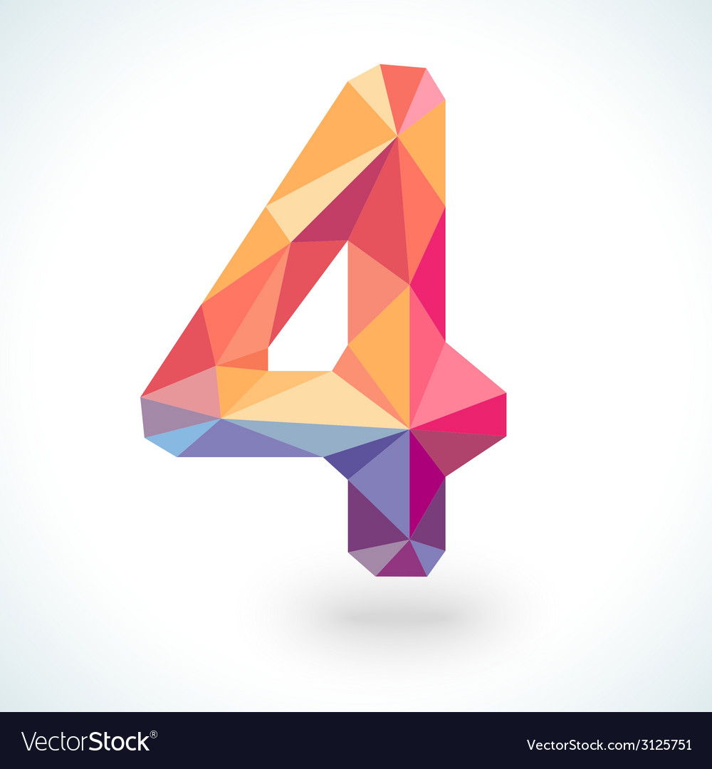 Number four in modern polygonal crystal style vector | Price: 1 Credit (USD $1)