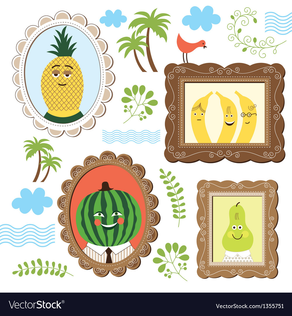 Portrait of the fruits vector | Price: 1 Credit (USD $1)