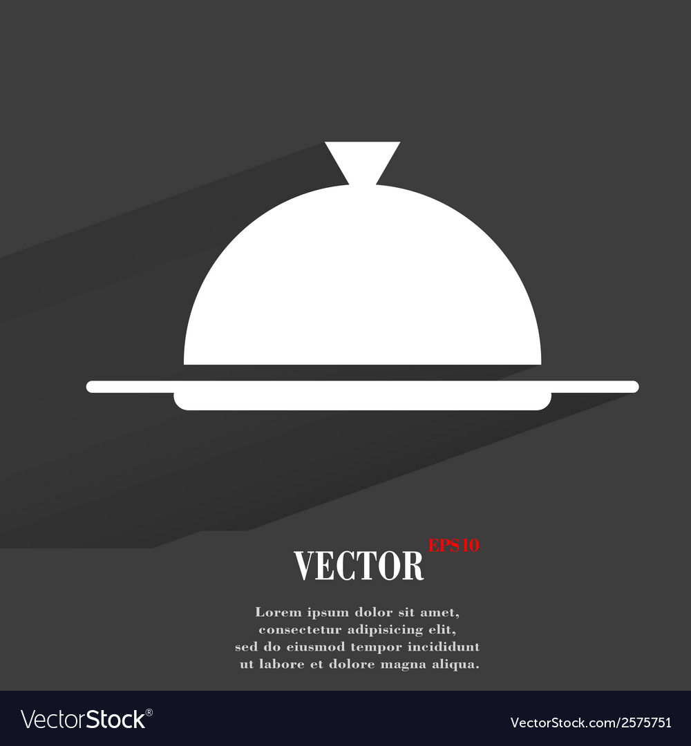 Restaurant cloche flat modern web button with long vector | Price: 1 Credit (USD $1)