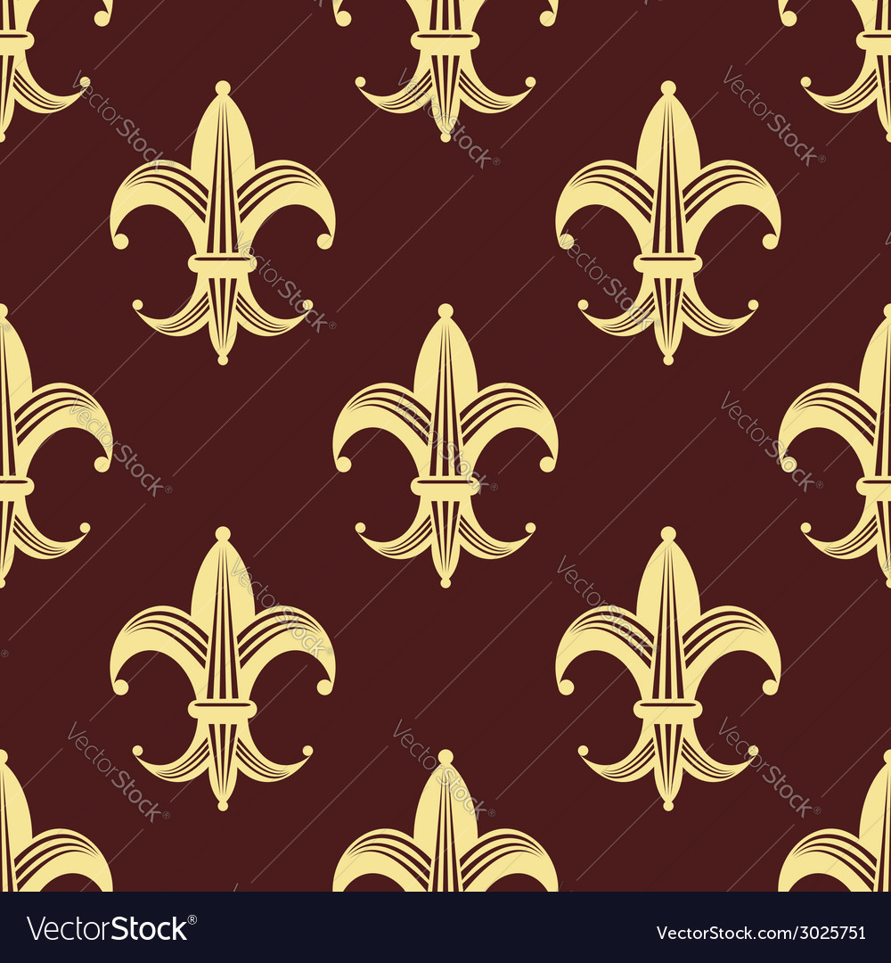 Seamless background pattern of yellow fleur de lys vector | Price: 1 Credit (USD $1)