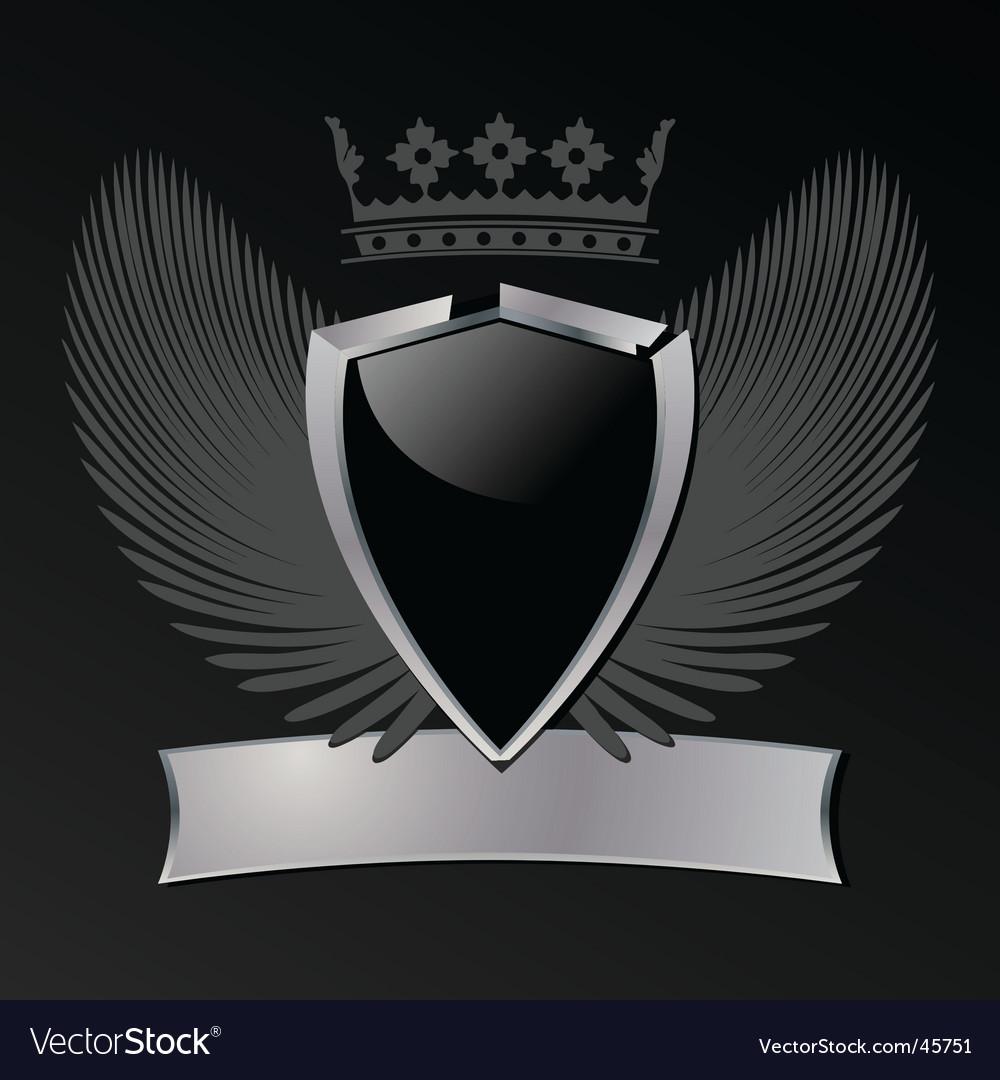 Silver and black shield vector | Price: 1 Credit (USD $1)