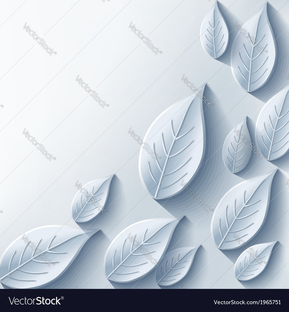 Trendy abstract background with gray 3d leaf vector | Price: 1 Credit (USD $1)
