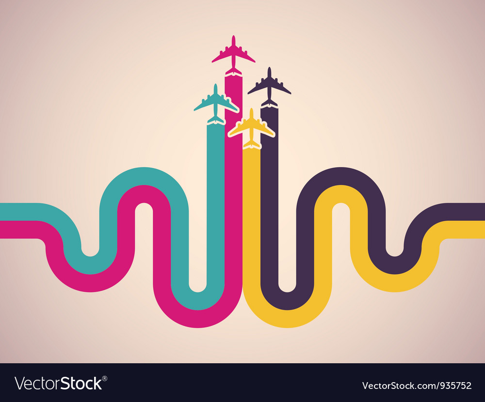 Background with colorful airplanes vector   Price: 1 Credit (USD $1)