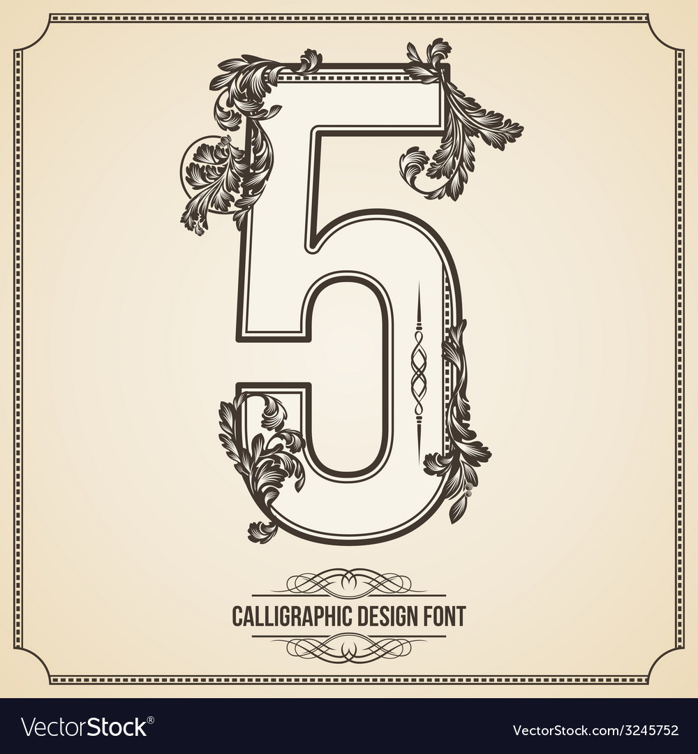 Calligraphic font number 5 vector | Price: 1 Credit (USD $1)
