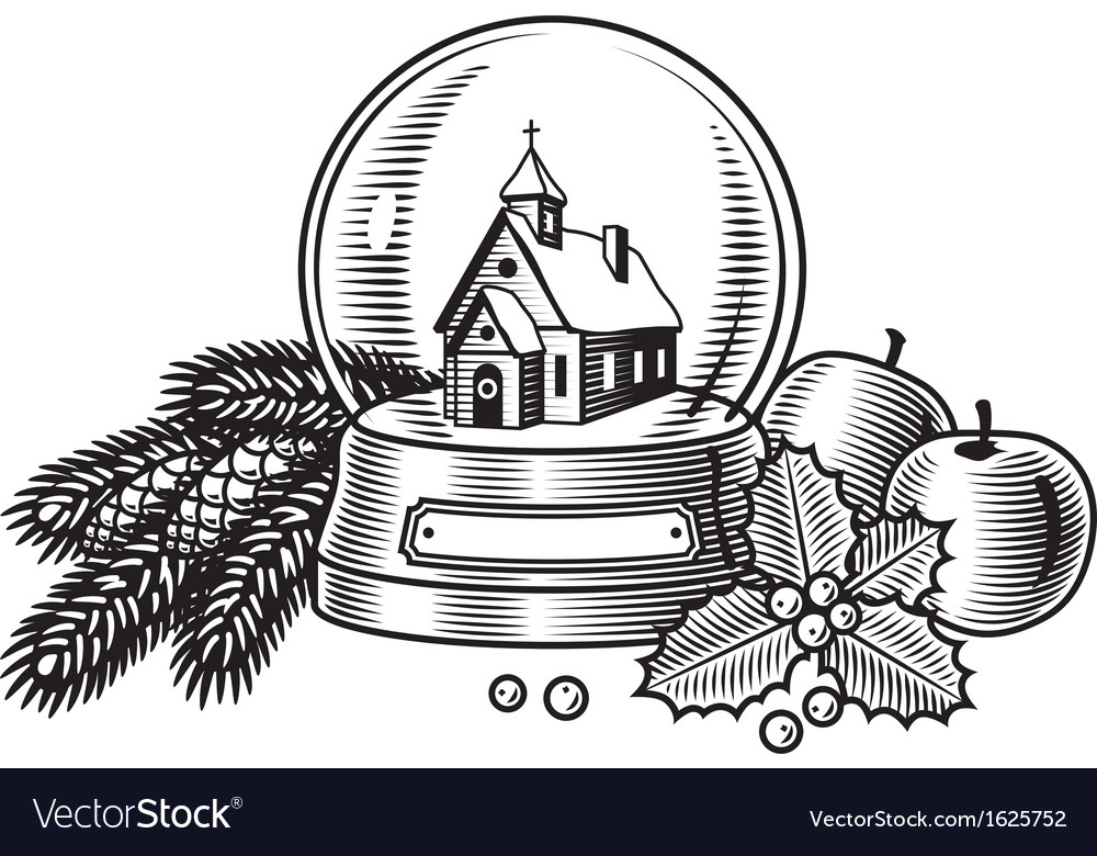 Christmas still life black and white vector | Price: 1 Credit (USD $1)