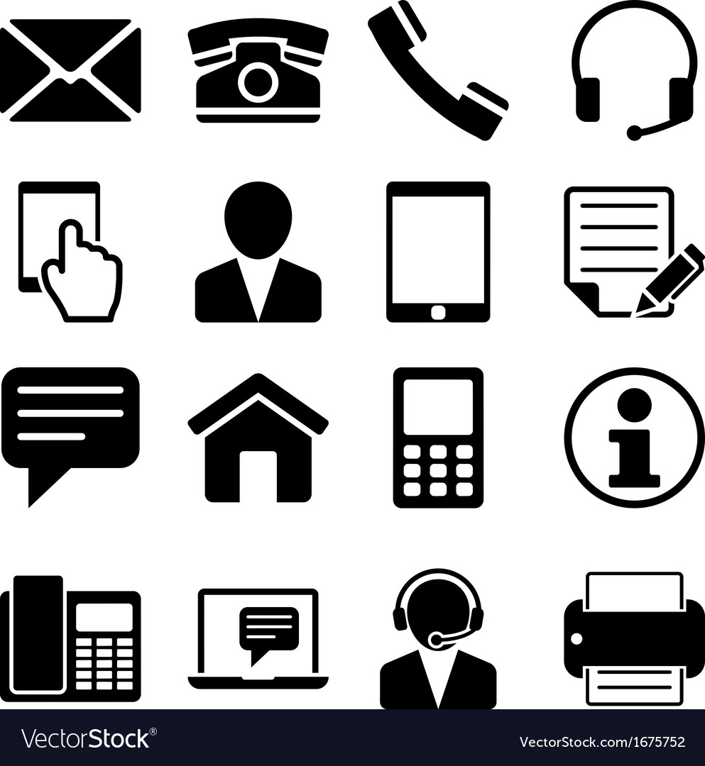 Contact us icons set vector | Price: 1 Credit (USD $1)
