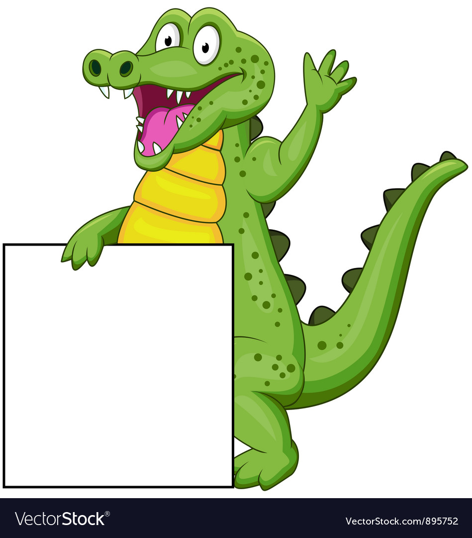 Crocodile cartoon with blank sign vector | Price: 3 Credit (USD $3)