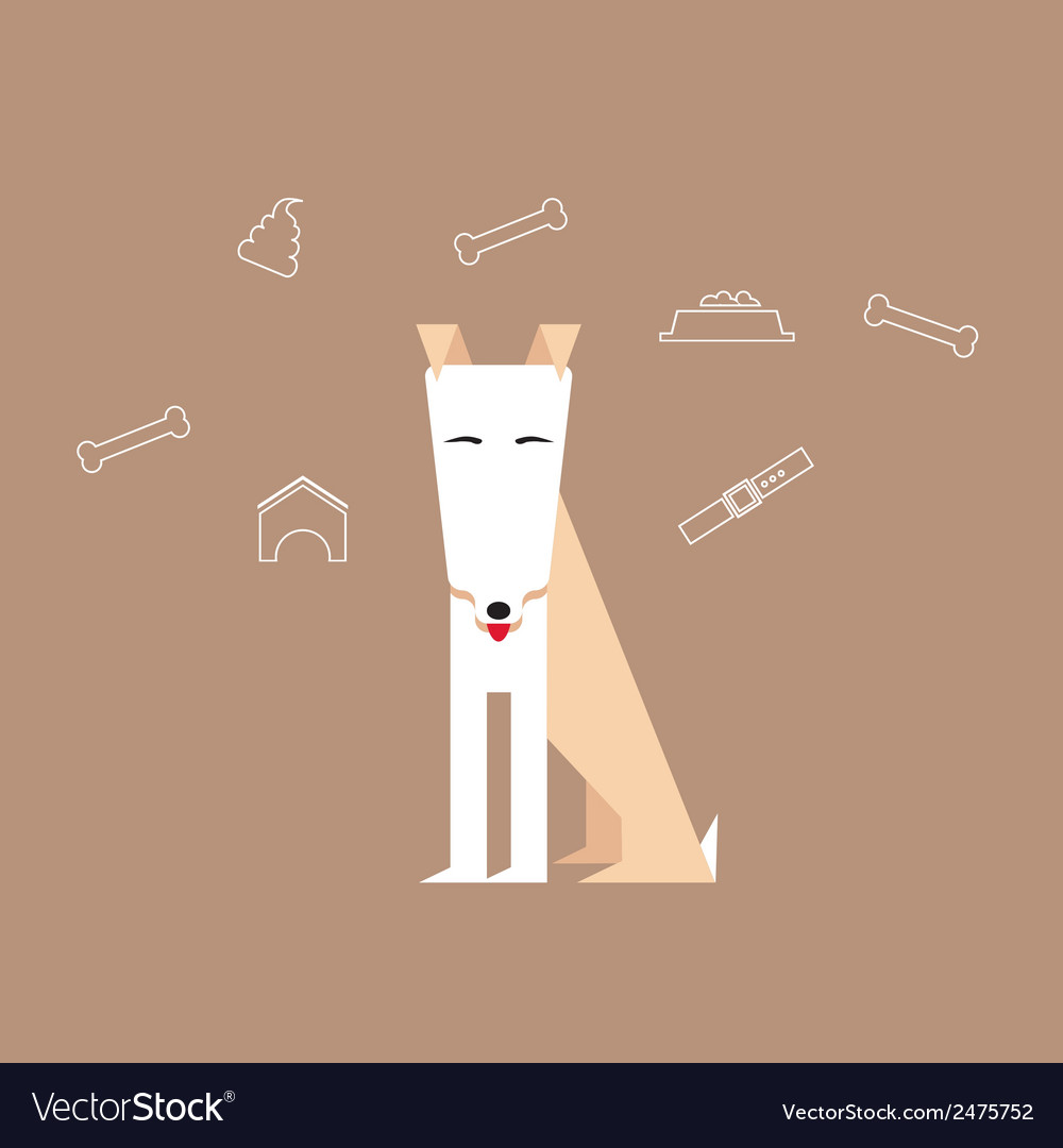 Dog in a flat style with canine icons around vector | Price: 1 Credit (USD $1)