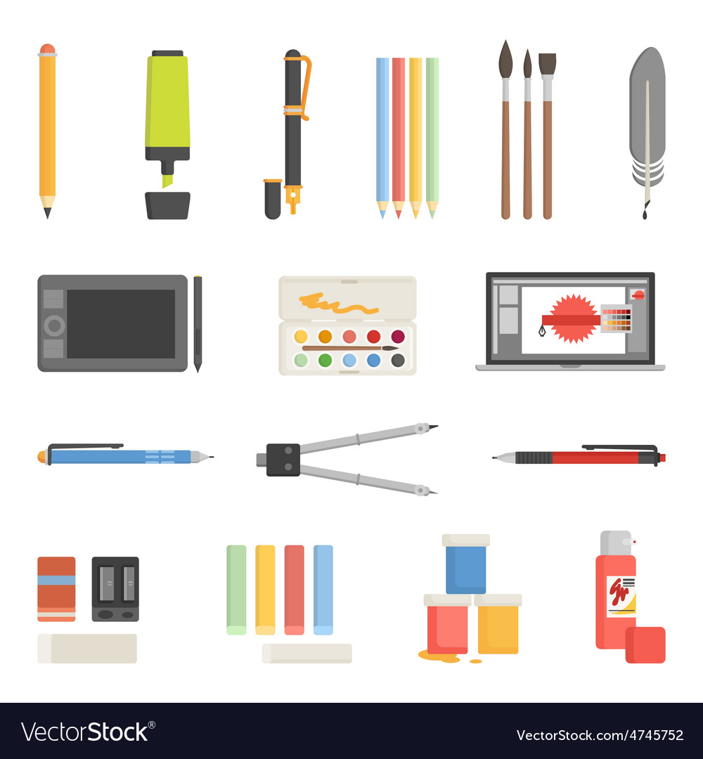 Drawing tools icons flat set vector | Price: 1 Credit (USD $1)