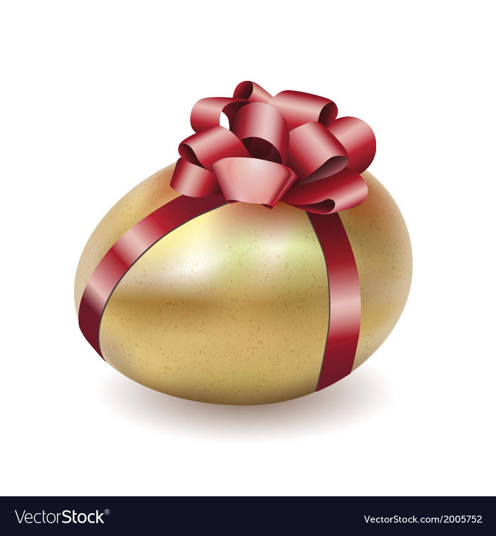 Easter gold egg with red bow and ribbon vector | Price: 1 Credit (USD $1)