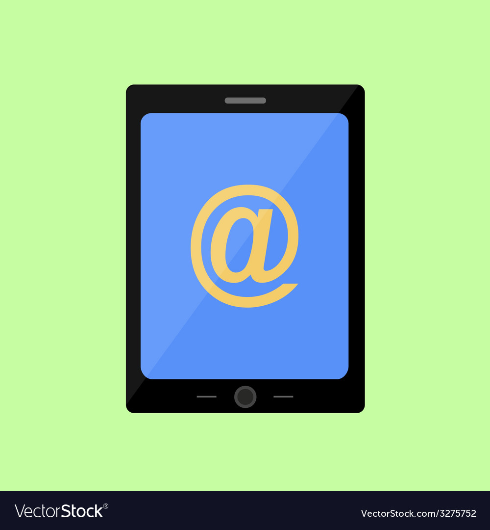 Flat style touch pad with mail sign vector | Price: 1 Credit (USD $1)