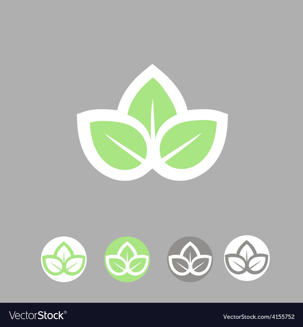 Green leaves ecology symbol template logo design vector | Price: 1 Credit (USD $1)