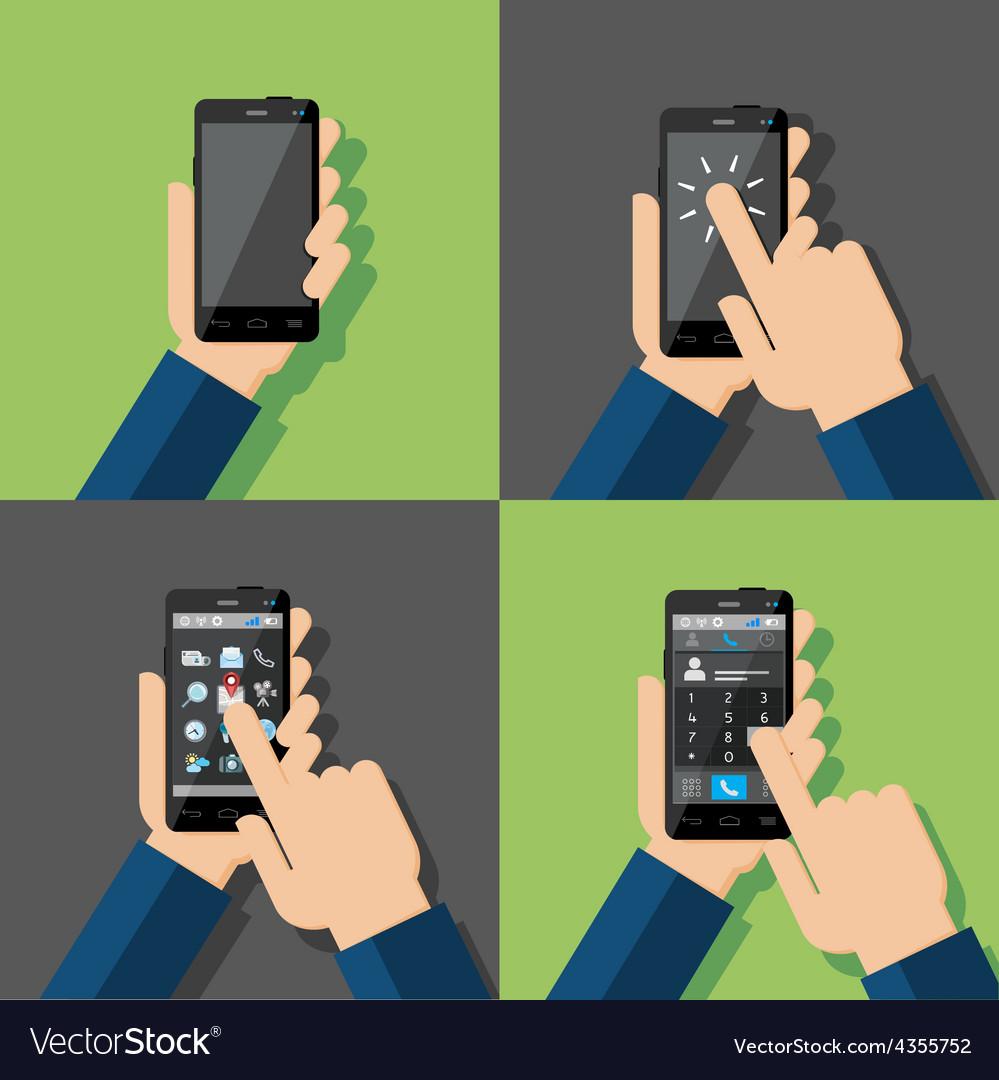 Hands holding touchscreen smartphones vector | Price: 1 Credit (USD $1)