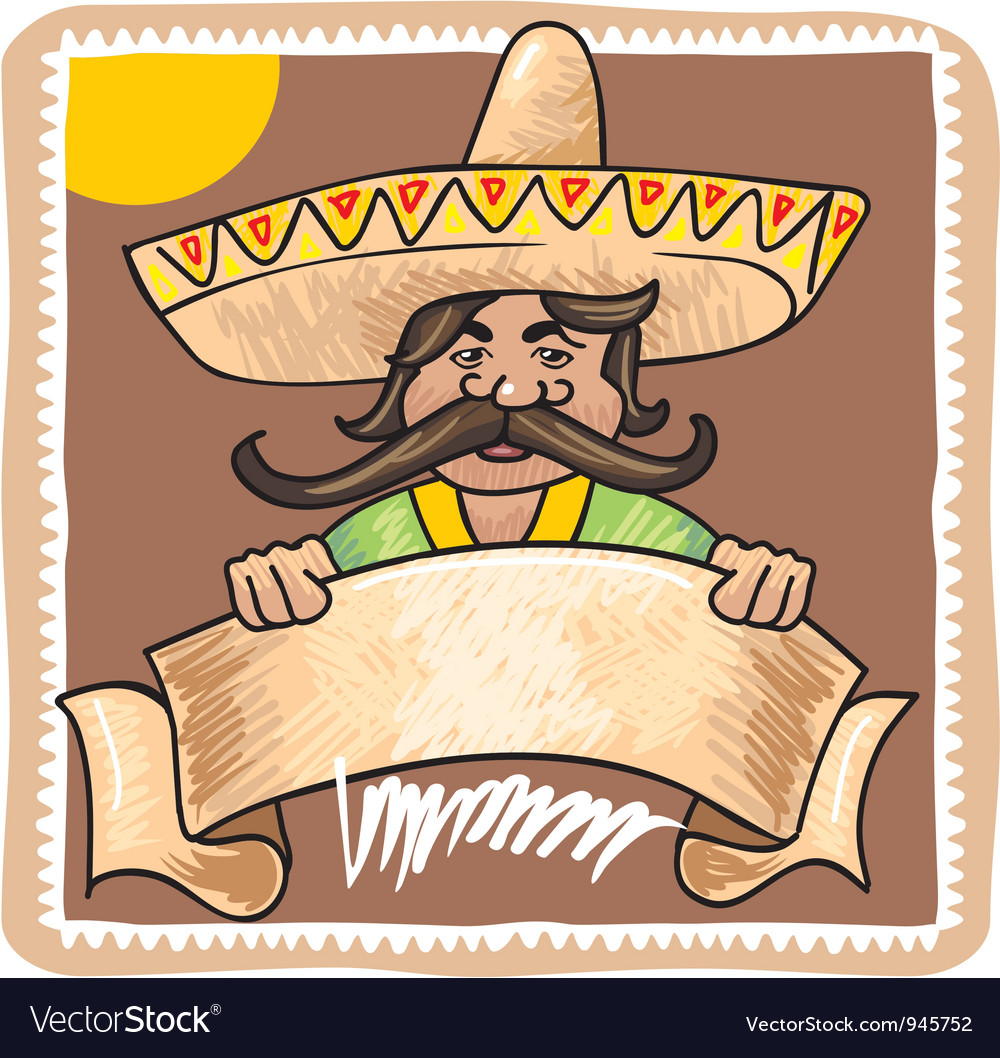 Mexican man with banner vector | Price: 1 Credit (USD $1)