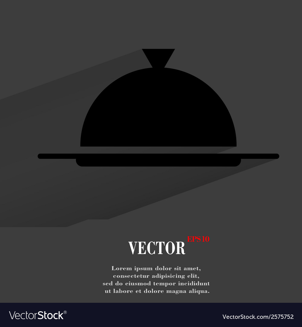 Restaurant cloche flat modern web button with long vector   Price: 1 Credit (USD $1)