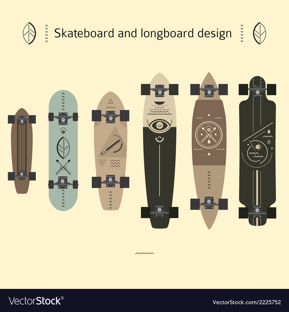 Skateboard and longboard design vector | Price: 1 Credit (USD $1)