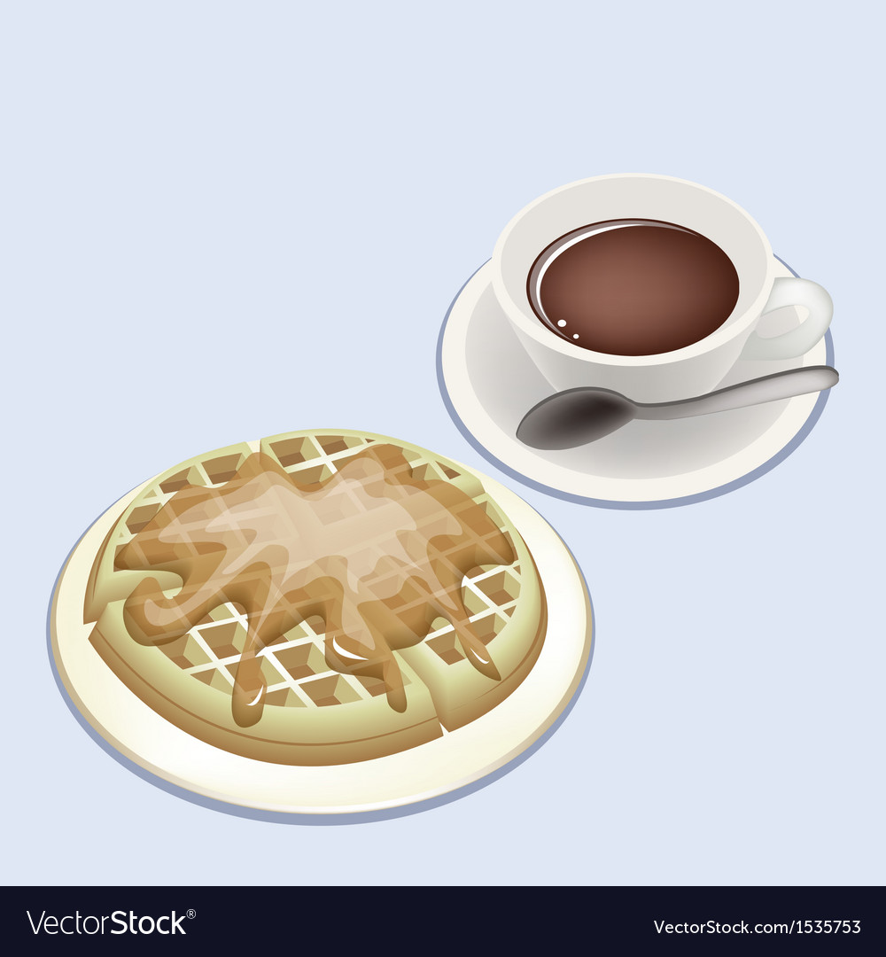 A smoking hot coffee with round waffles vector | Price: 1 Credit (USD $1)