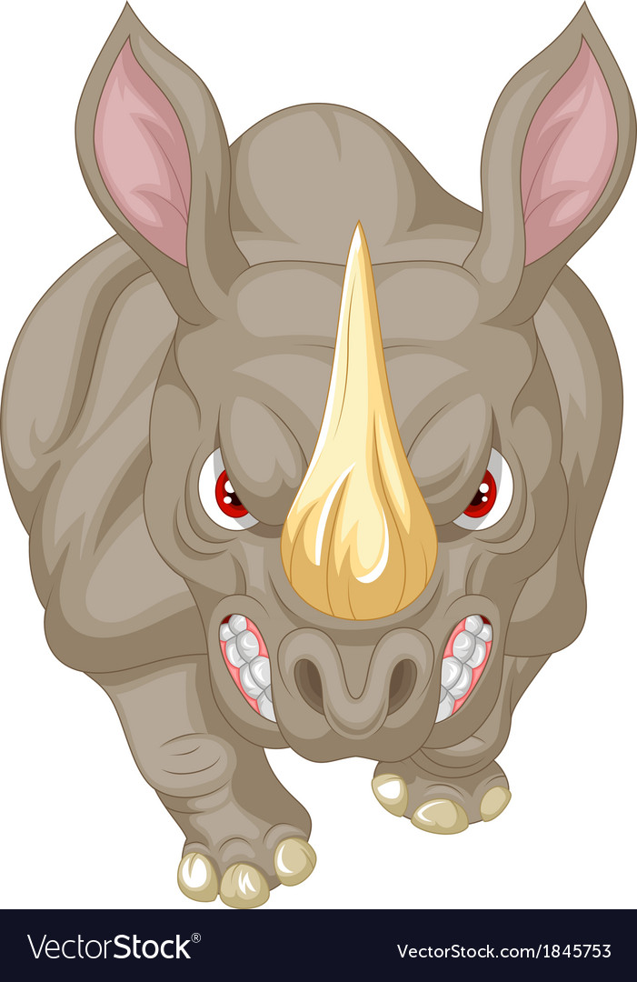 Angry rhino cartoon character vector | Price: 3 Credit (USD $3)