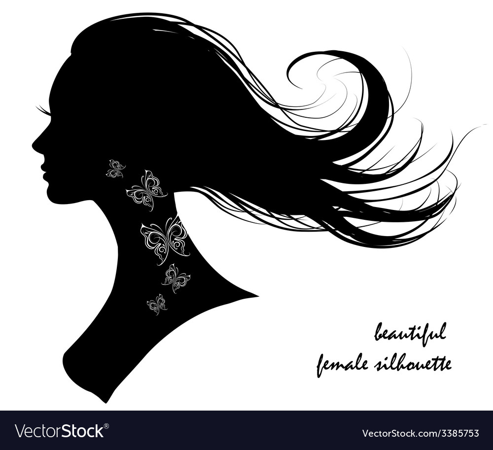 Beautiful female silhouette vector | Price: 1 Credit (USD $1)