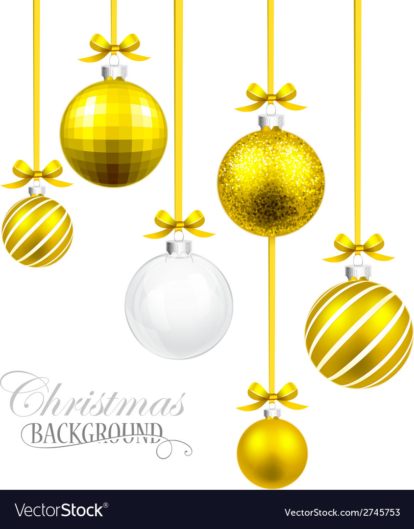 Christmas balls with yellow ribbon and bows vector | Price: 1 Credit (USD $1)