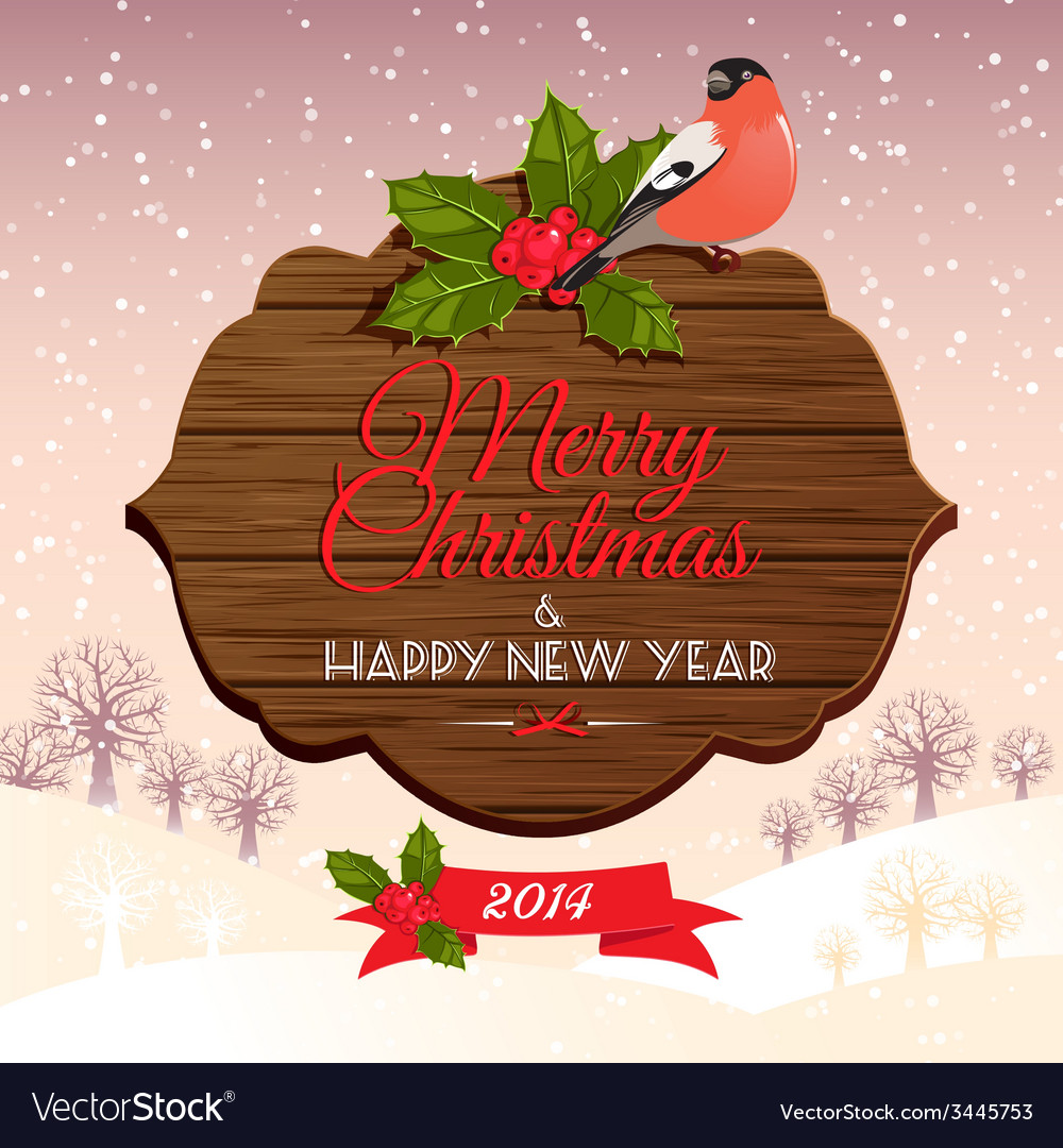 Christmas signboard with holly berry and bullfinch vector | Price: 1 Credit (USD $1)